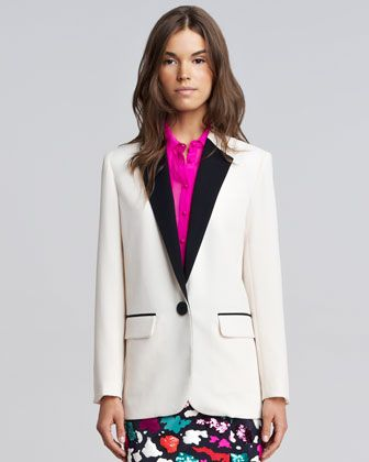 Nanette Lepore Yin & Yang Contrast-Trim Crepe Blazer