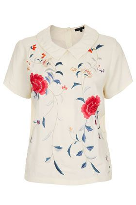 Topshop Embroidered Floral Collar Tee