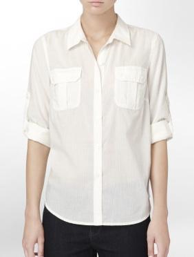 Calvin Klein  Dobby Thin Stripe Shirt