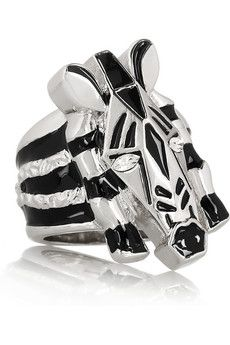 Marc by Marc Jacobs Zebra Enameled Crystal Ring