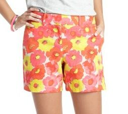 LOFT Floral Spritz Print Linen and Cotton Shorts