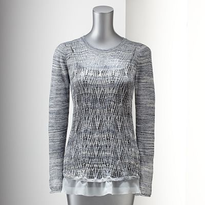 Simply Vera Vera Wang Space-Dye Open-Work Sweater