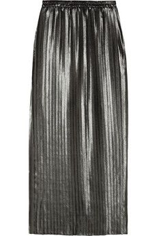 MICHAEL Michael Kors Pleated Metallic Chiffon Maxi Skirt