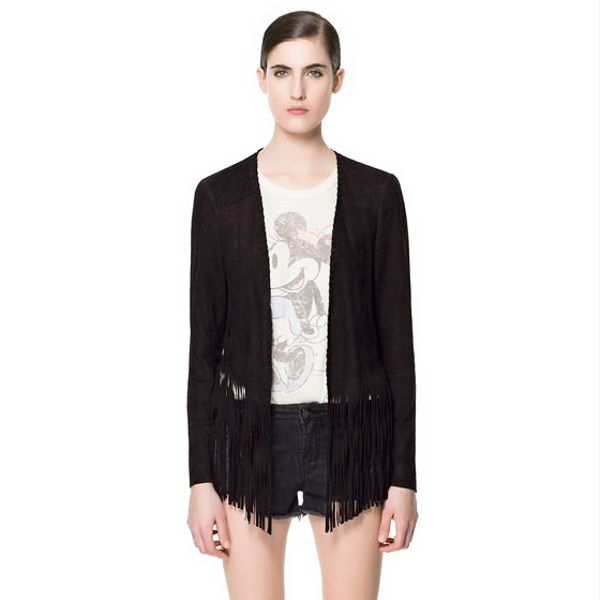 Zara Fringed Suede Jacket