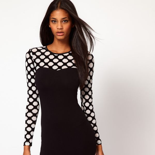 Motel Lee Lee Dress In Honeycomb Mesh