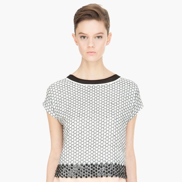 Diane von Furstenberg White Raechel Honeycomb Sequin T-Shirt