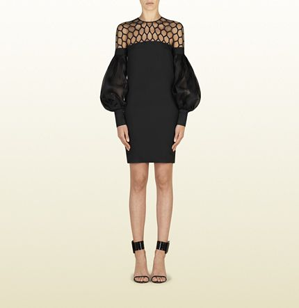Gucci Black Silk Dress With Hive Tulle And Puff Sleeves