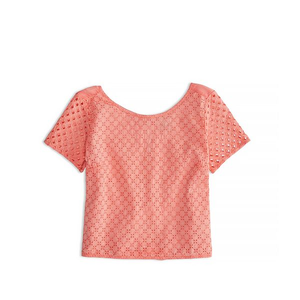 American Eagle Eyelet Cropped Tee Shirt