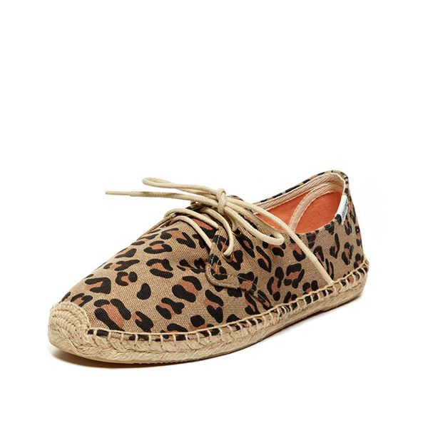 Soludos Animal Print Lace Up Espadrilles