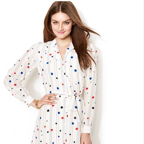 To Tommy From Zooey Polka-Dot Printed Shirtdress