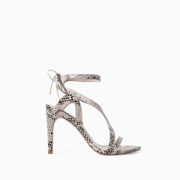 Zara High Heel Snake Print Leather Sandals