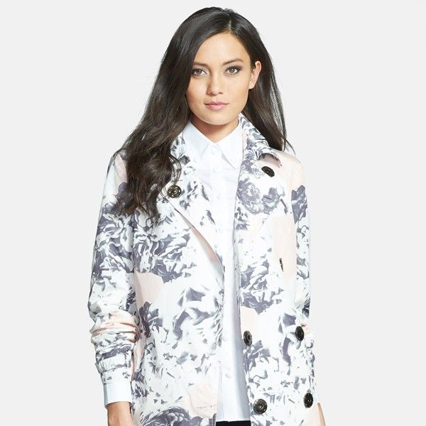 Pink Tartan Floral Trench Coat
