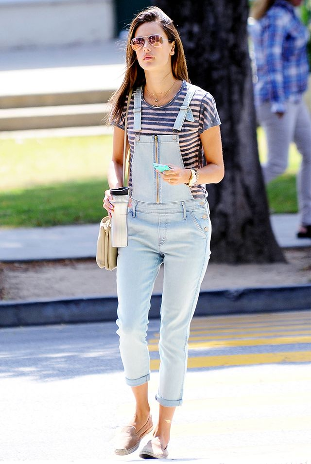 Style Tip: Pair a striped t-shirt and slip-on espadrilles with your overalls for a go-to weekend outfit.  ?On Ambrosio: Ray-Ban Aviator Flash Sunglasses ($170); Mother Dropout Overalls ($275);...