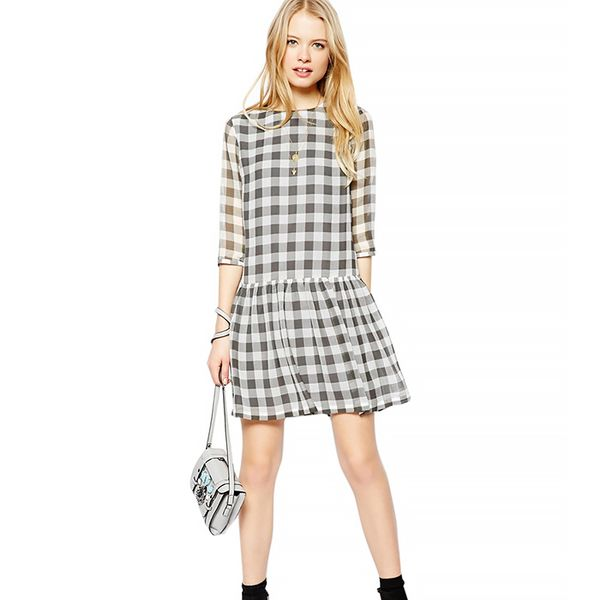 ASOS Drop Waist Dress In Sheer Gingham