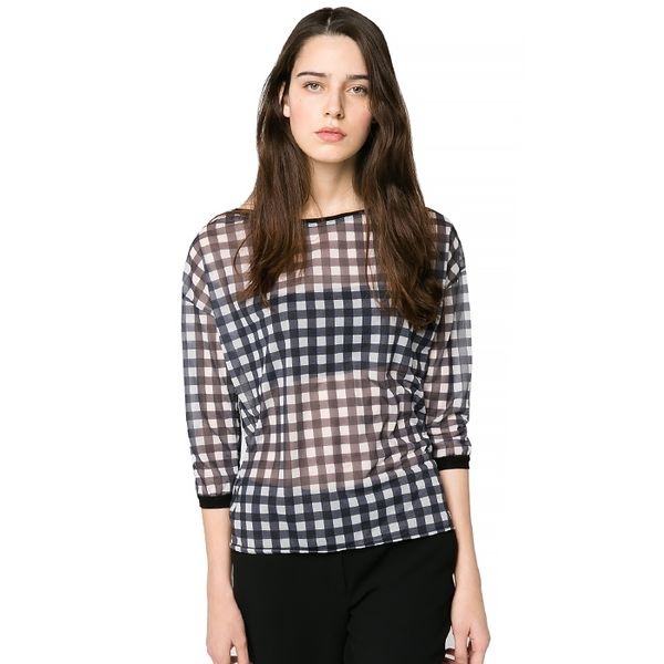 Mango Gingham Check T-Shirt