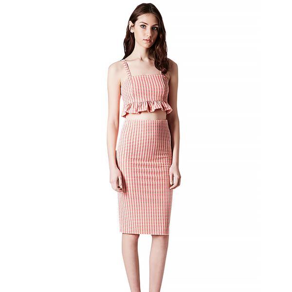 Topshop Gingham Peplum Bralet and Tube Skirt
