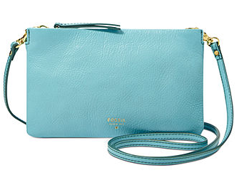 Fossil Solid Leather Mini Crossbody Bag