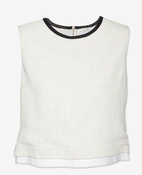 A.L.C. Leather Trim Linen Top
