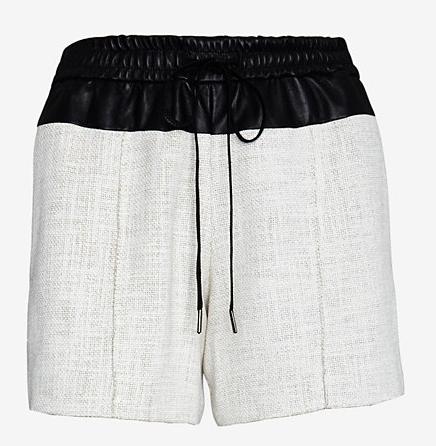 A.L.C. Leather Waist Linen Blend Shorts