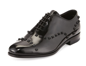 Valentino Patent Stud-Trim Lace-Up Derby Shoes