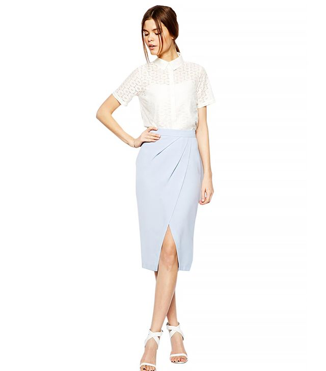 ASOS Drape Tulip Skirt In Crepe ($61) in Pale Blue