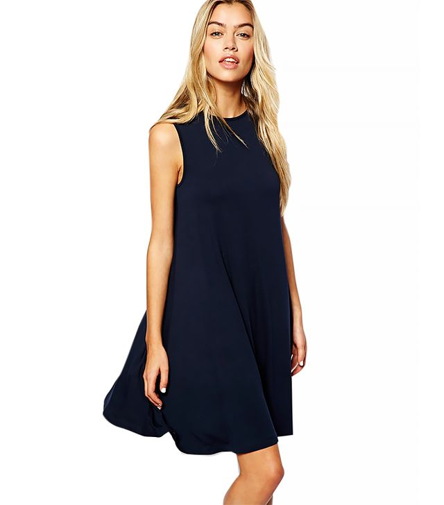 ASOS Sleeveless Swing Dress ($35) in Navy