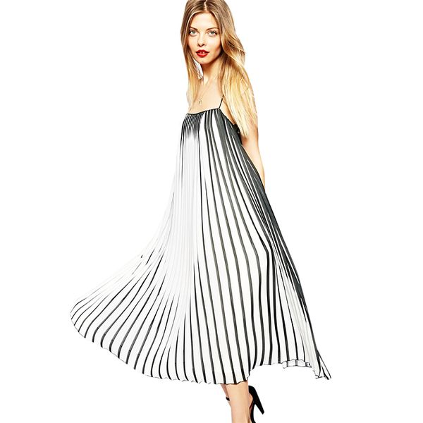 ASOS Swing Dress In Pleated Stripe