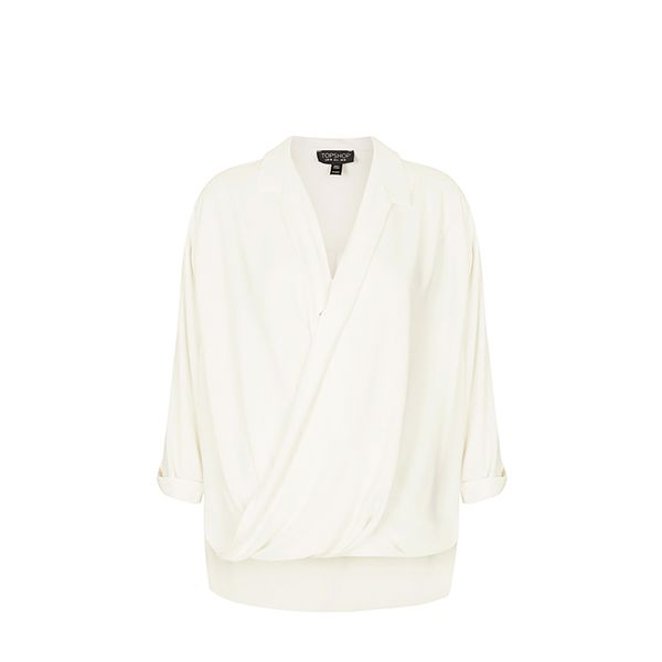 Topshop Formal Drape Front Blouse