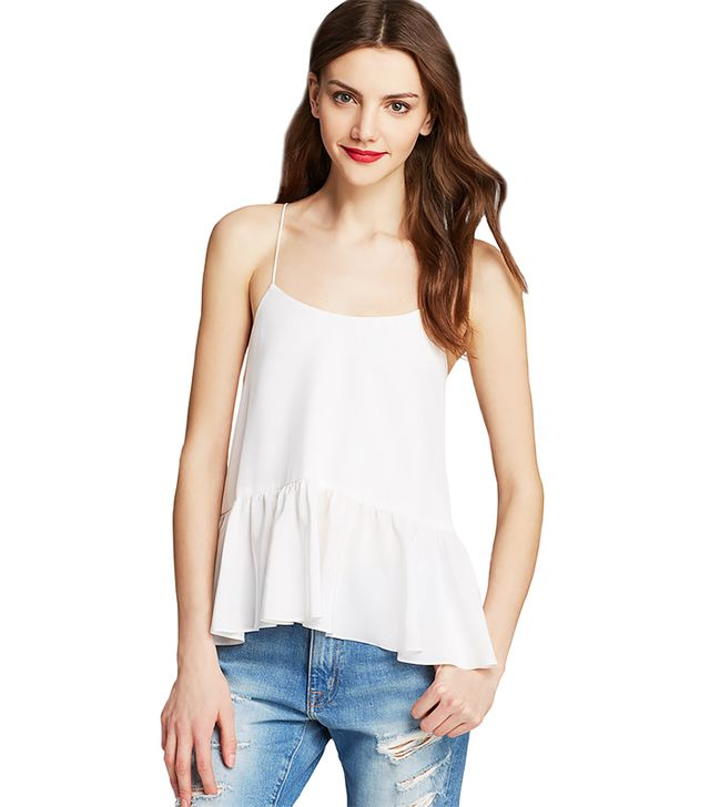 Tibi Silk Crepe De Chine Ruffle Cami ($250) in White
