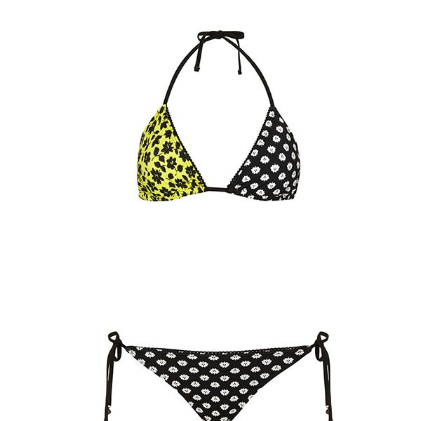 Topshop Black and Lime Folk Bikini
