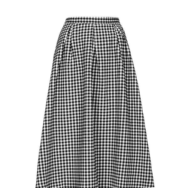 Topshop Gingham Calf Midi Skirt