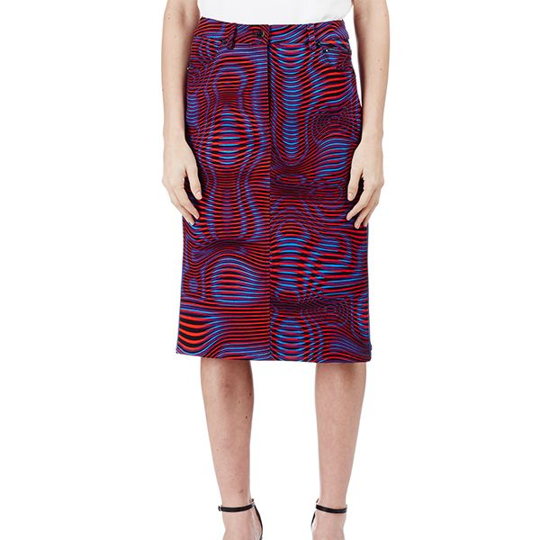 Opening Ceremony Water Print Jean Skirt