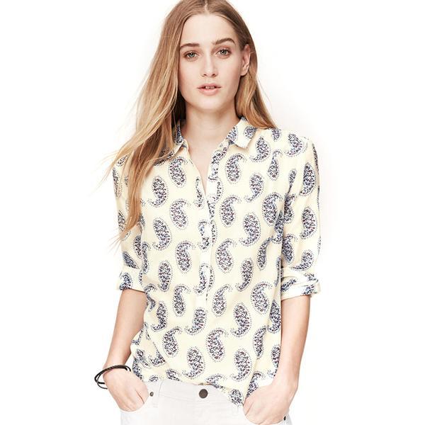LOFT Petite Paisley Softened Shirt