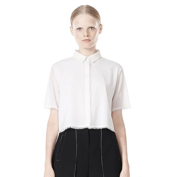 Alexander Wang Frayed Silk Chiffon Short Sleeve Shirt