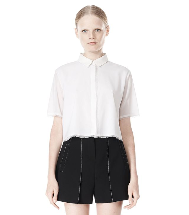Alexander Wang Frayed Silk Chiffon Short Sleeve Shirt ($325)  The frayed edges give this sleek button-down shirt a stylish finish.