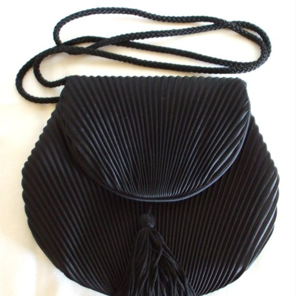 Vintage 1980's Black Satin Evening Shoulder Bag
