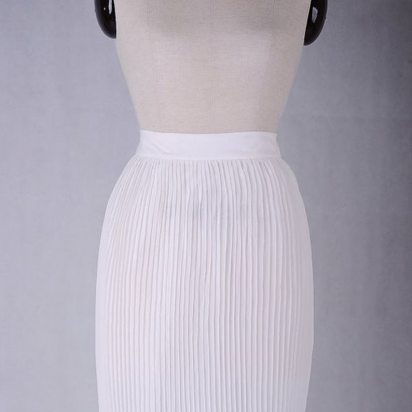 Apparel Fabrics White Accordion Pleated Skirt