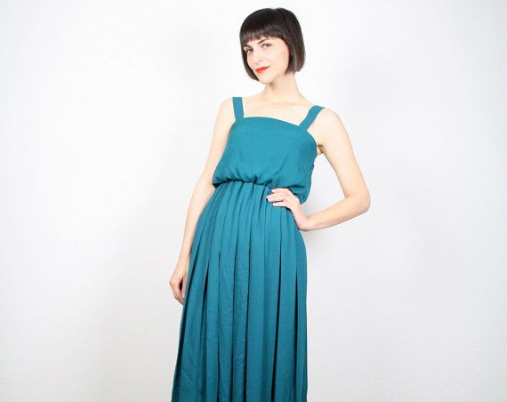 Vintage 1970's Teal Green Dress
