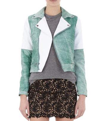 Timo Weiland Colorblock Green and White Biker Jacket