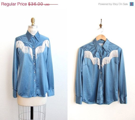Vintage 1970's Country Girl Fringed Blouse
