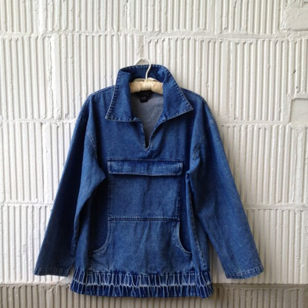 Vintage J. Peterman Anorak Style Denim Shirt