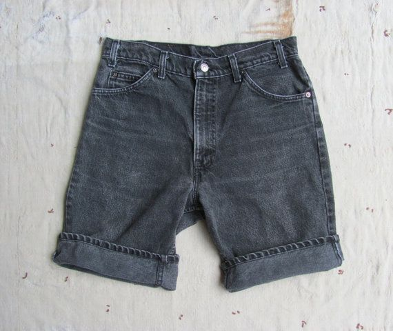 Vintage Levis Orange Tab Faded Black Denim Long Shorts