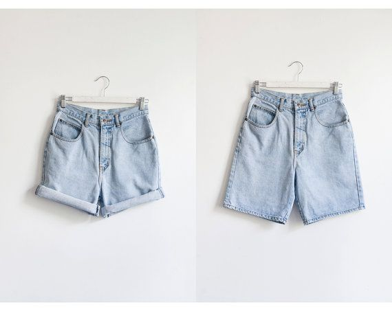 Vintage High Waist Light Wash Long Denim Shorts