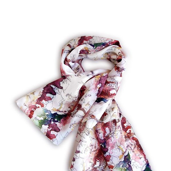 Love Journey Collection Paris Watercolor Print Scarf