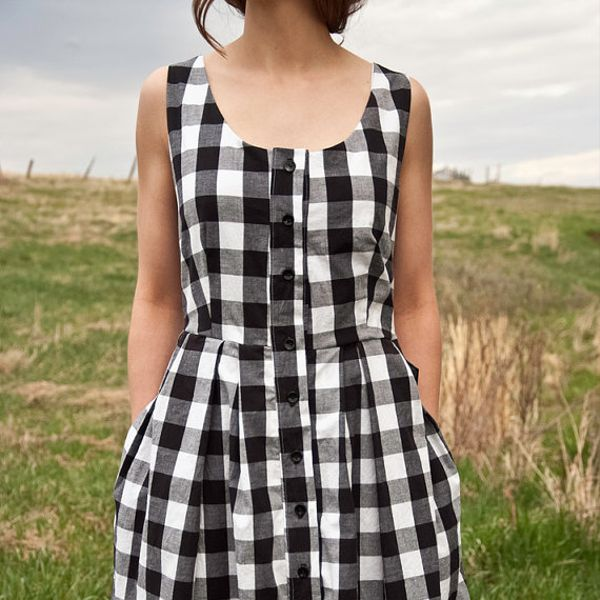 Handmade Gingham Button Down Dress