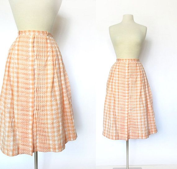Vintage 1950's Peach Gingham Skirt