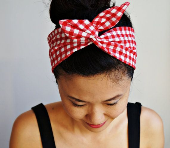 Handmade Gift Wrapped Picnic Checkered Dolly Bow Gingham Headband