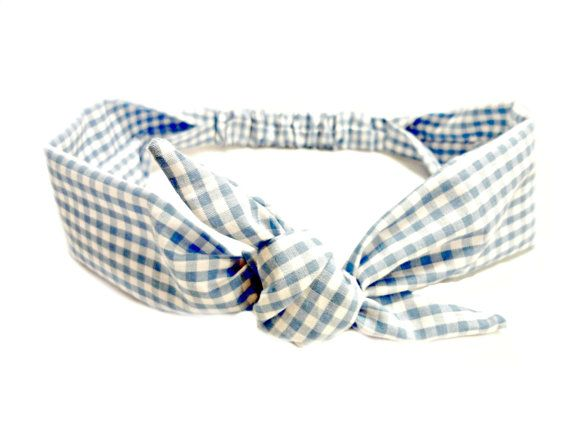 Handmade Blue Gingham Bow Tie Headband