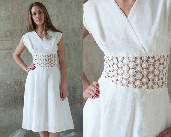 Vintage White Crochet Daisy Waist Dress