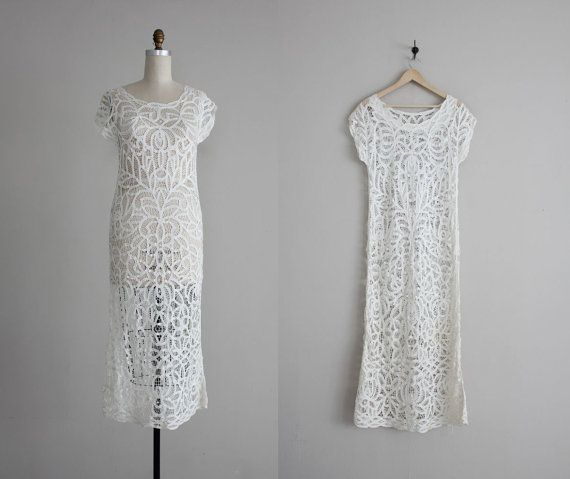Vintage Long White Lace/Croched Dress